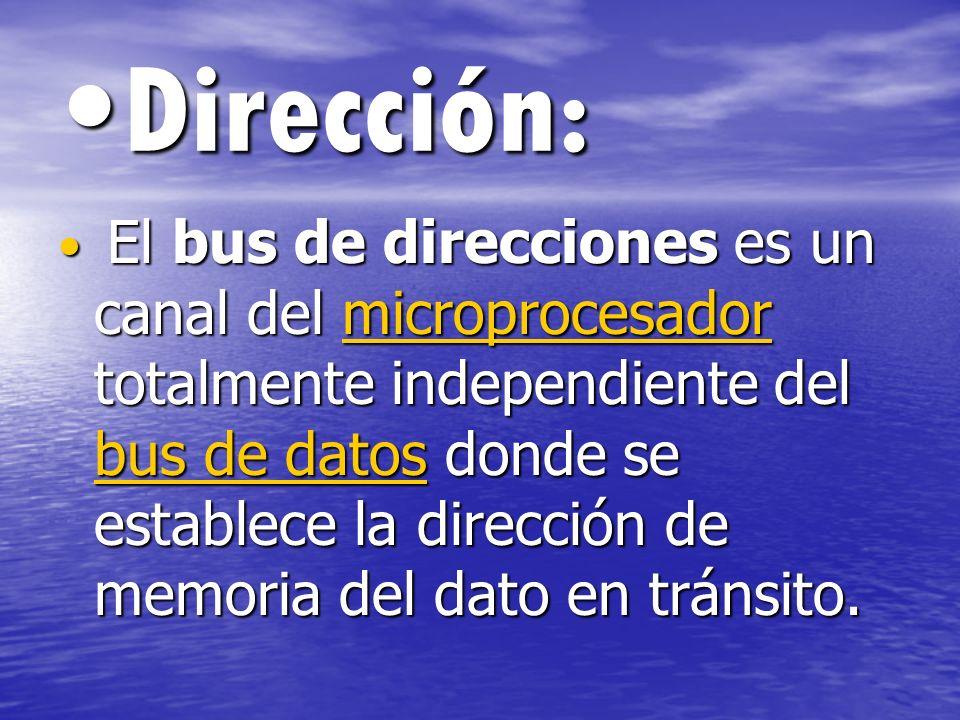 Dirección:Dirección: El bus de direcciones es un canal del microprocesador totalmente independiente del bus de datos donde se establece la dirección d