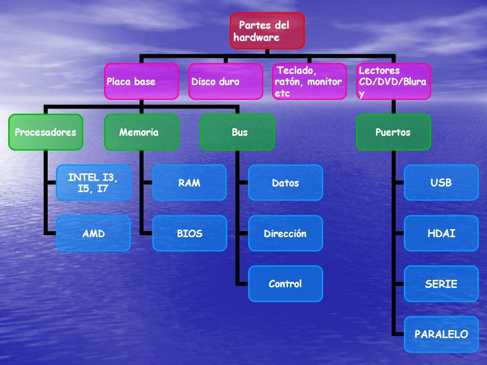 Partes del hardware Placa base Procesadores INTEL I3, I5, I7 AMD Memoria RAM BIOS Bus Datos Dirección Control Disco duro Teclado, ratón, monitor etc L