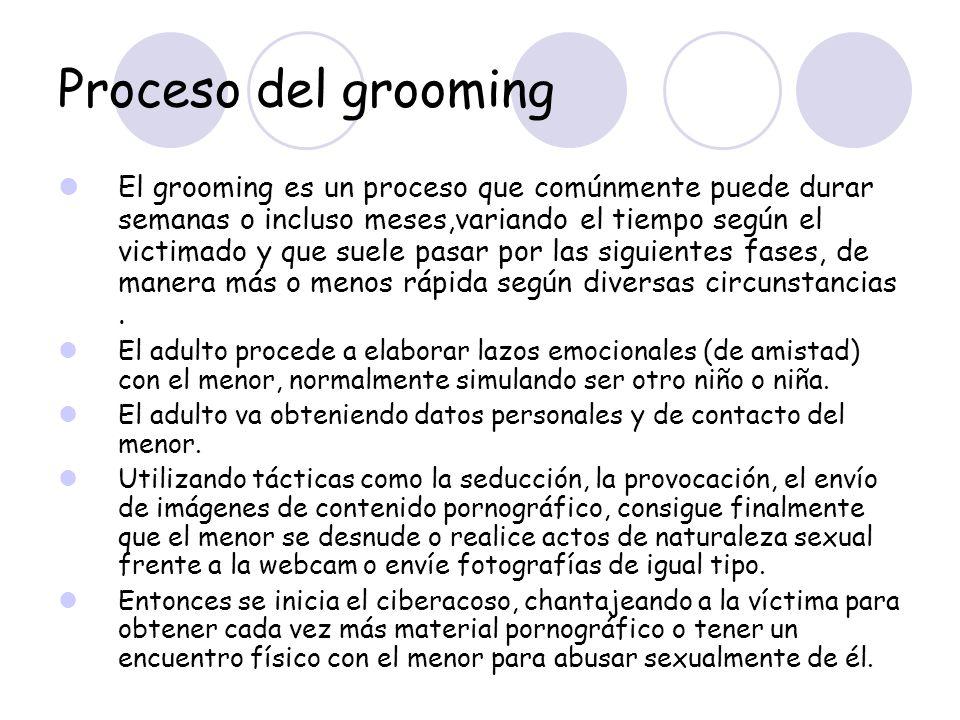 Proceso del grooming El grooming es un proceso que comúnmente puede durar semanas o incluso meses,variando el tiempo según el victimado y que suele pa