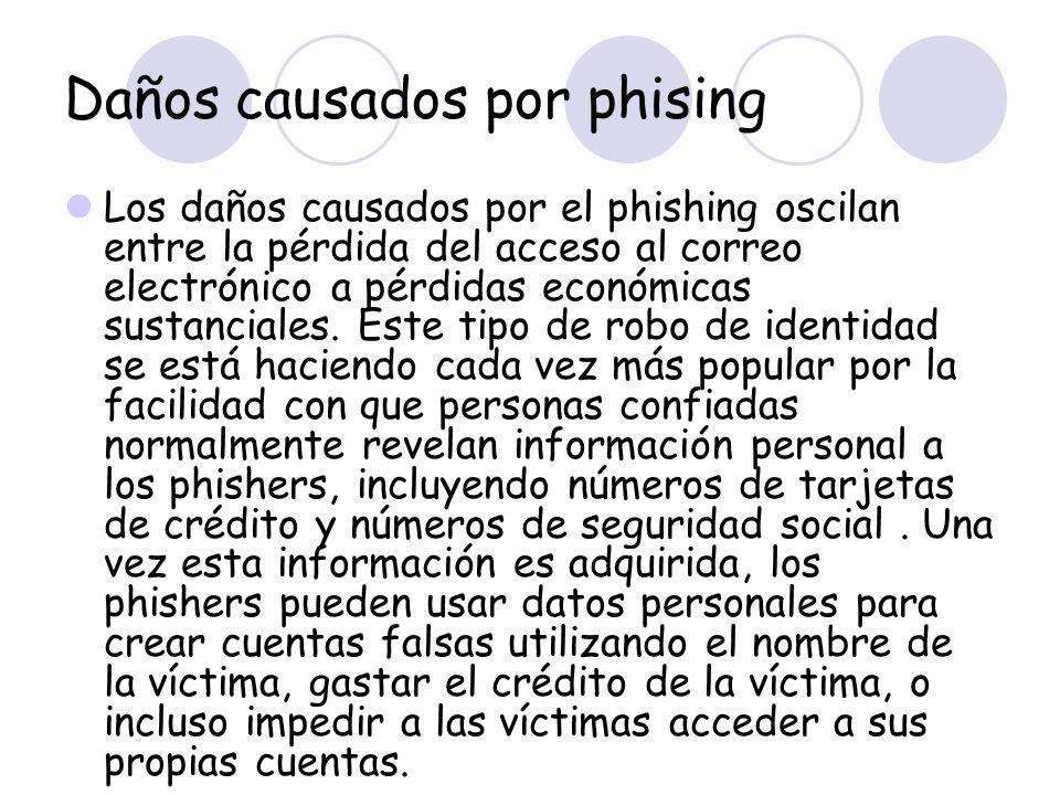 Daños causados por phising Los daños causados por el phishing oscilan entre la pérdida del acceso al correo electrónico a pérdidas económicas sustanci