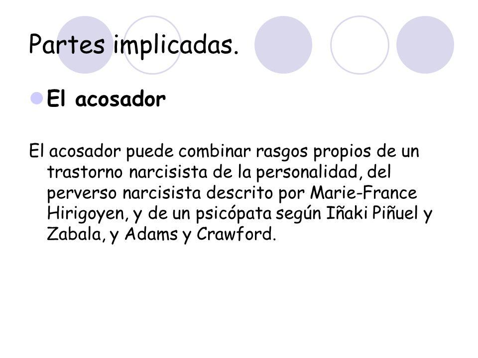 Partes implicadas. El acosador El acosador puede combinar rasgos propios de un trastorno narcisista de la personalidad, del perverso narcisista descri