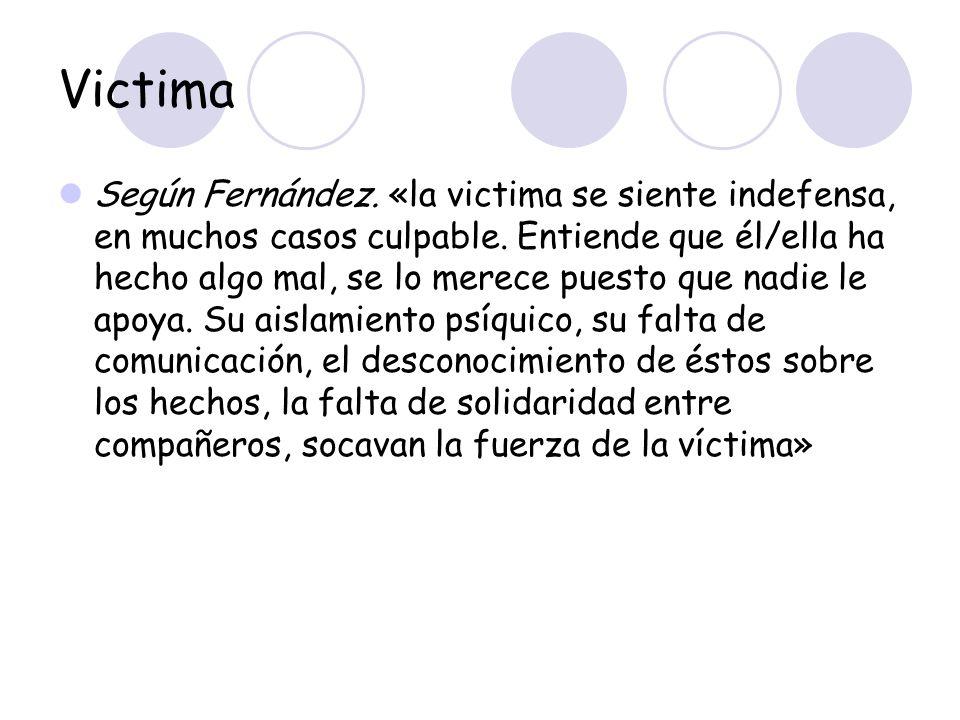 Victima Según Fernández. «la victima se siente indefensa, en muchos casos culpable. Entiende que él/ella ha hecho algo mal, se lo merece puesto que na
