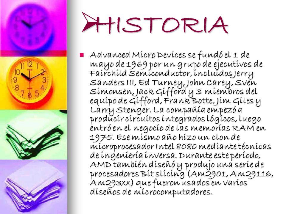 HISTORIA HISTORIA Advanced Micro Devices se fundó el 1 de mayo de 1969 por un grupo de ejecutivos de Fairchild Semiconductor, incluidos Jerry Sanders