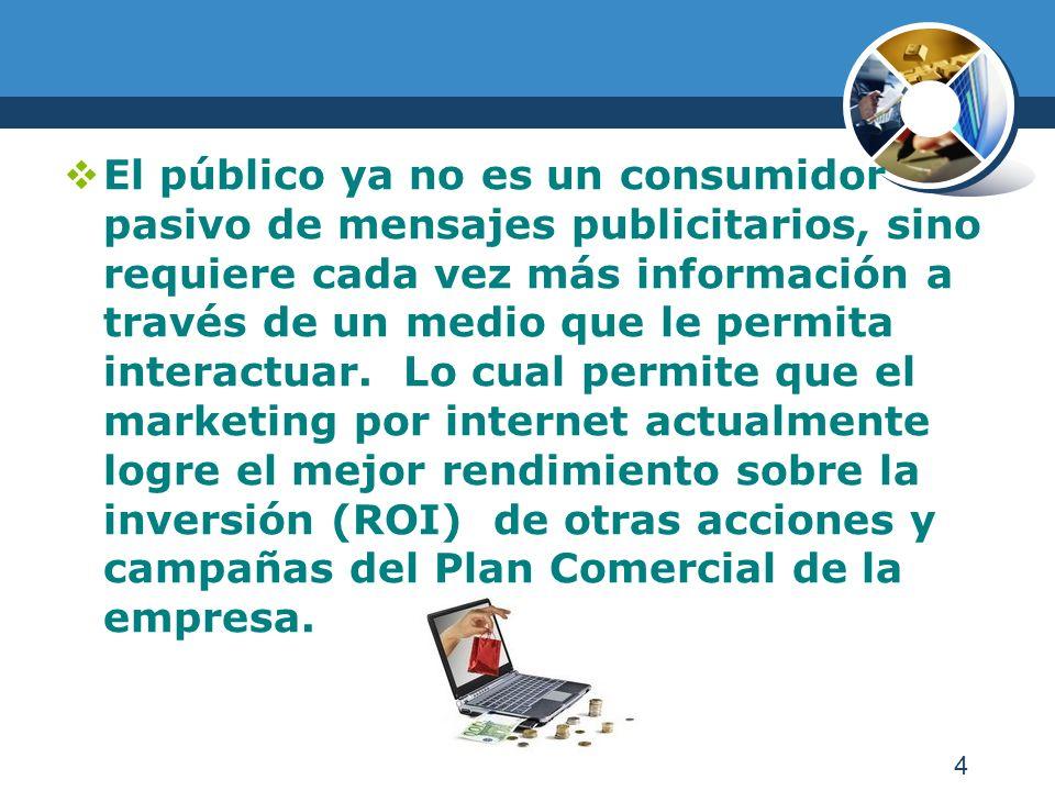 4 El público ya no es un consumidor pasivo de mensajes publicitarios, sino requiere cada vez más información a través de un medio que le permita interactuar.