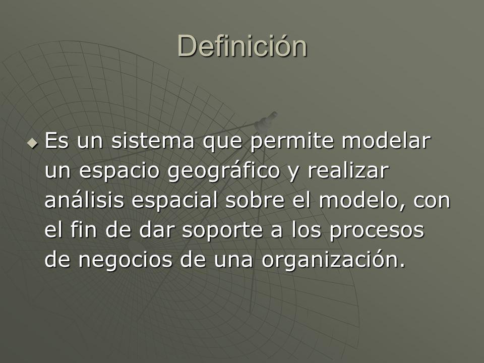 Definición Es un sistema que permite modelar un espacio geográfico y realizar análisis espacial sobre el modelo, con el fin de dar soporte a los proce