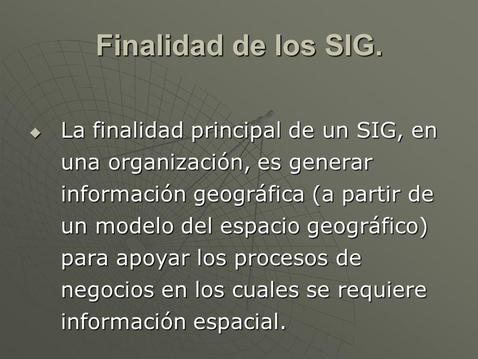 Finalidad de los SIG. La finalidad principal de un SIG, en una organización, es generar información geográfica (a partir de un modelo del espacio geog