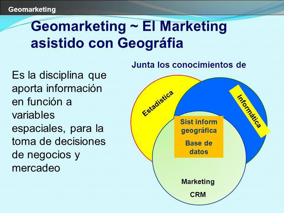 Geomarketing Es la disciplina que aporta información en función a variables espaciales, para la toma de decisiones de negocios y mercadeo Estadística