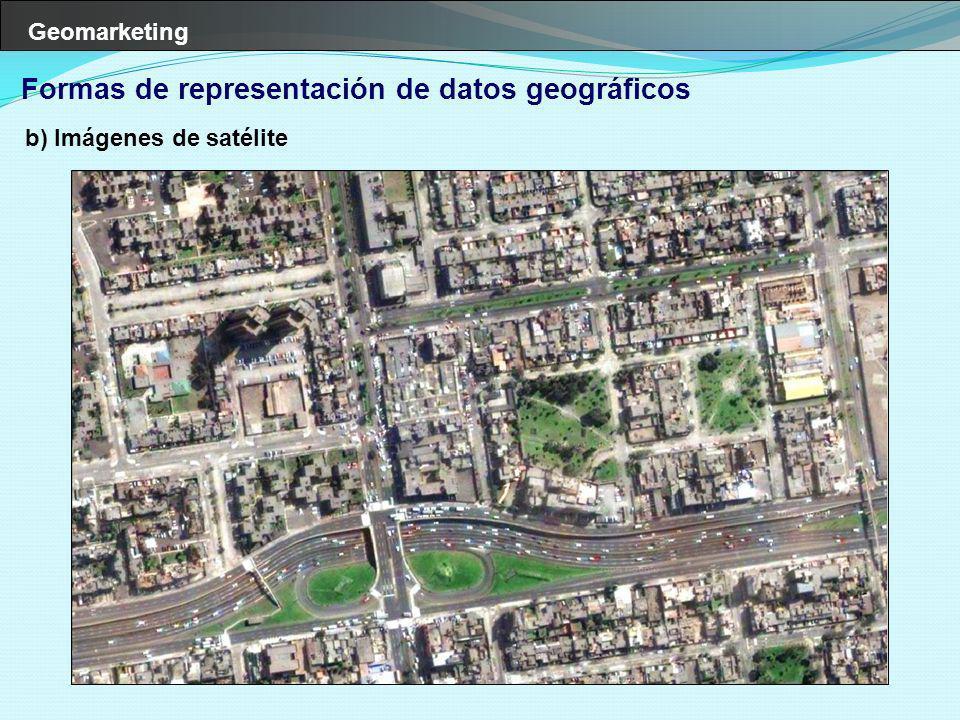 Geomarketing Mundo real Imagen de satélite Relieve Zonas comerciales Calles Clientes Organización de la información en un SIG Todos los elementos de la cadena de negocios es representada en forma de capas Puntos de venta Competencia