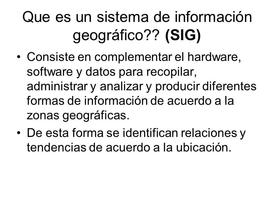 Que es un sistema de información geográfico?? (SIG) Consiste en complementar el hardware, software y datos para recopilar, administrar y analizar y pr