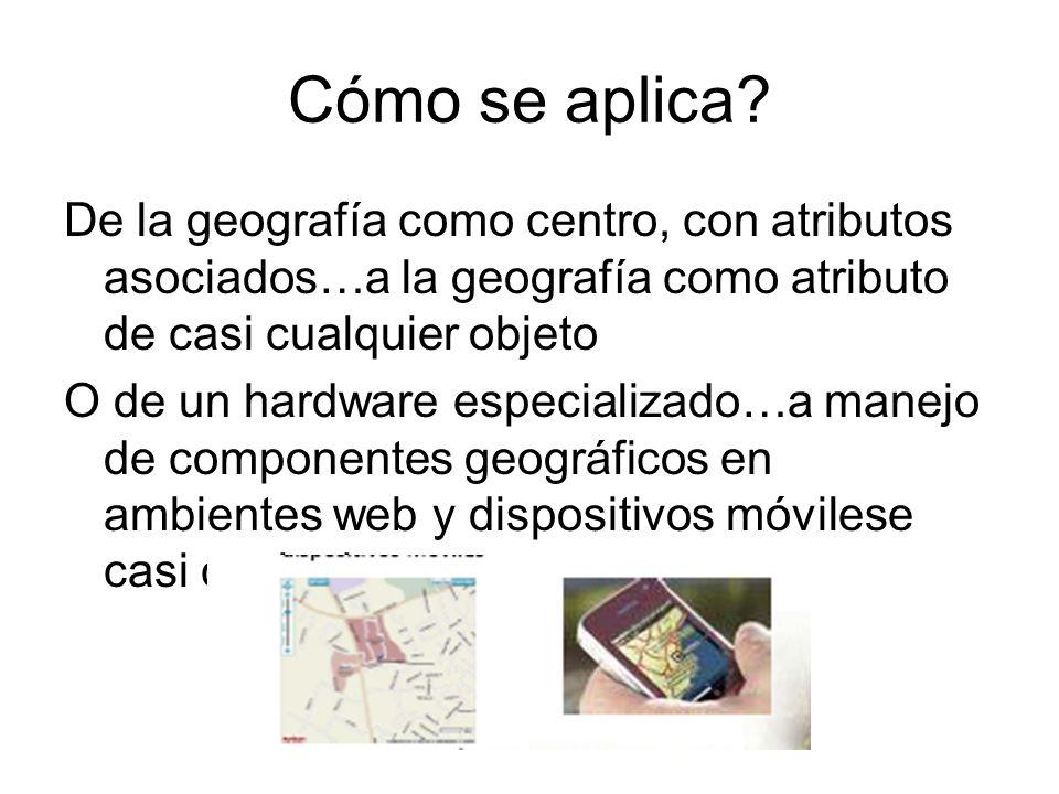 Cómo se aplica? De la geografía como centro, con atributos asociados…a la geografía como atributo de casi cualquier objeto O de un hardware especializ