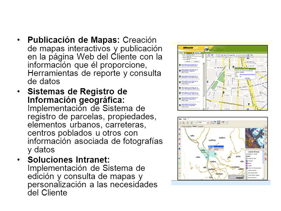 Soluciones SIG en Internet Publicación de Mapas: Creación de mapas interactivos y publicación en la página Web del Cliente con la información que él p