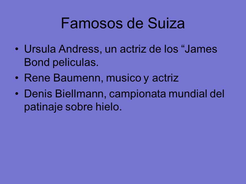 Famosos de Suiza Ursula Andress, un actriz de los James Bond peliculas. Rene Baumenn, musico y actriz Denis Biellmann, campionata mundial del patinaje