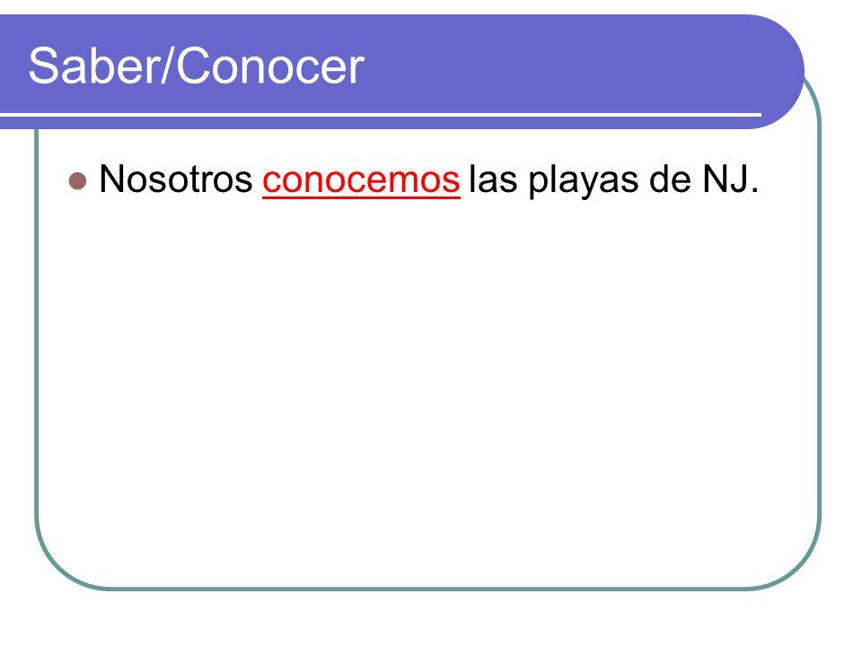 Saber/Conocer Nosotros conocemos las playas de NJ.