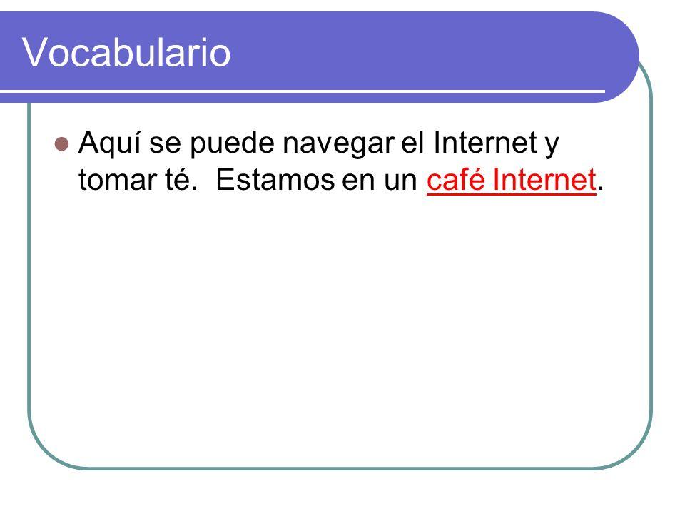 Vocabulario Aquí se puede navegar el Internet y tomar té. Estamos en un café Internet.