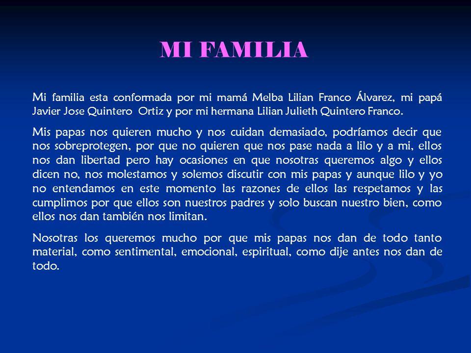 M i familia esta conformada por mi mamá Melba Lilian Franco Álvarez, mi papá Javier Jose Quintero Ortiz y por mi hermana Lilian Julieth Quintero Franco.