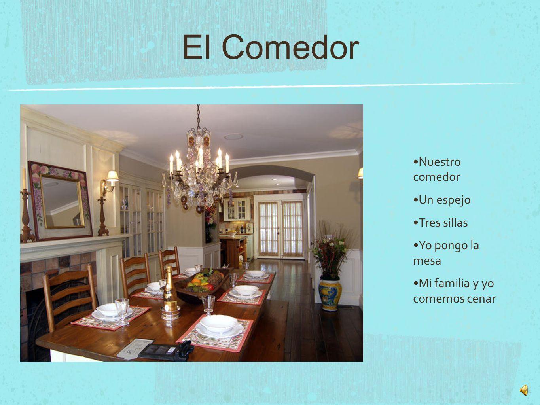 El Comedor Nuestro comedor Un espejo Tres sillas Yo pongo la mesa Mi familia y yo comemos cenar