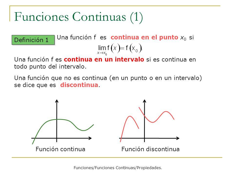 Funciones Continuas (1) Funciones/Funciones Continuas/Propiedades. Definición 1 Una función que no es continua (en un punto o en un intervalo) se dice