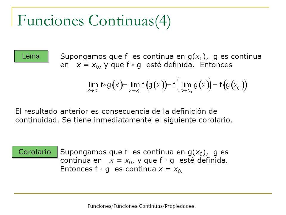 Funciones Continuas(4) Funciones/Funciones Continuas/Propiedades. Lema Corolario Supongamos que f es continua en g(x 0 ), g es continua en x = x 0, y