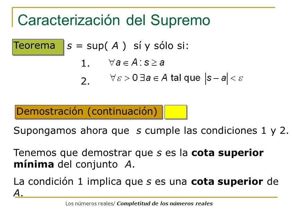 Caracterización del Supremo Demostración (continuación) Teorema Supongamos ahora que s cumple las condiciones 1 y 2. s = sup( A ) sí y sólo si: 1. 2.