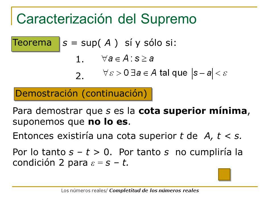 Caracterización del Supremo Demostración (continuación) Teorema Para demostrar que s es la cota superior mínima, suponemos que no lo es. s = sup( A )