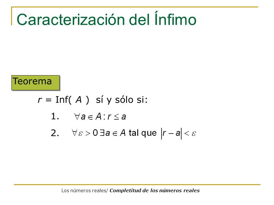 Caracterización del Ínfimo Teorema r = Inf( A ) sí y sólo si: 1. 2. Los números reales/ Completitud de los números reales