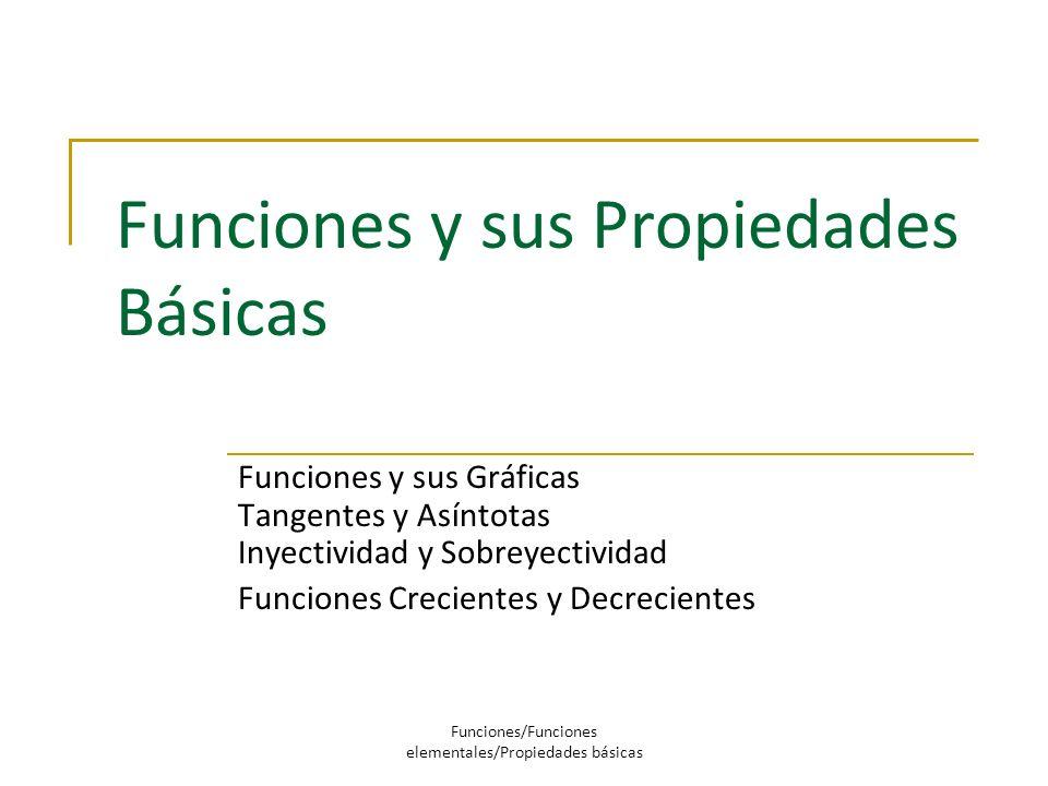 Funciones y sus Propiedades Básicas Funciones y sus Gráficas Tangentes y Asíntotas Inyectividad y Sobreyectividad Funciones Crecientes y Decrecientes