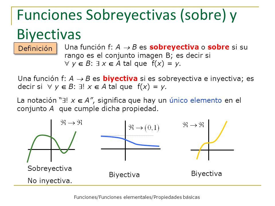 Funciones Sobreyectivas (sobre) y Biyectivas Definición Una función f: A B es sobreyectiva o sobre si su rango es el conjunto imagen B; es decir si y