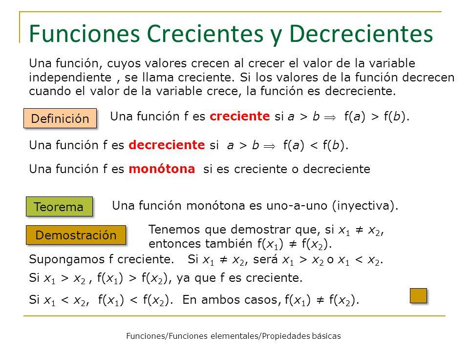 Funciones Crecientes y Decrecientes Definición Una función f es creciente si a > b f(a) > f(b). Una función, cuyos valores crecen al crecer el valor d