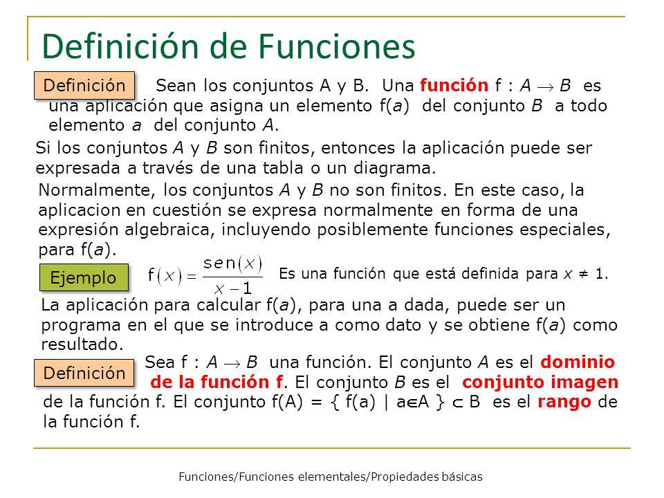 Definición de Funciones Sean los conjuntos A y B. Una función f : A B es una aplicación que asigna un elemento f(a) del conjunto B a todo elemento a d