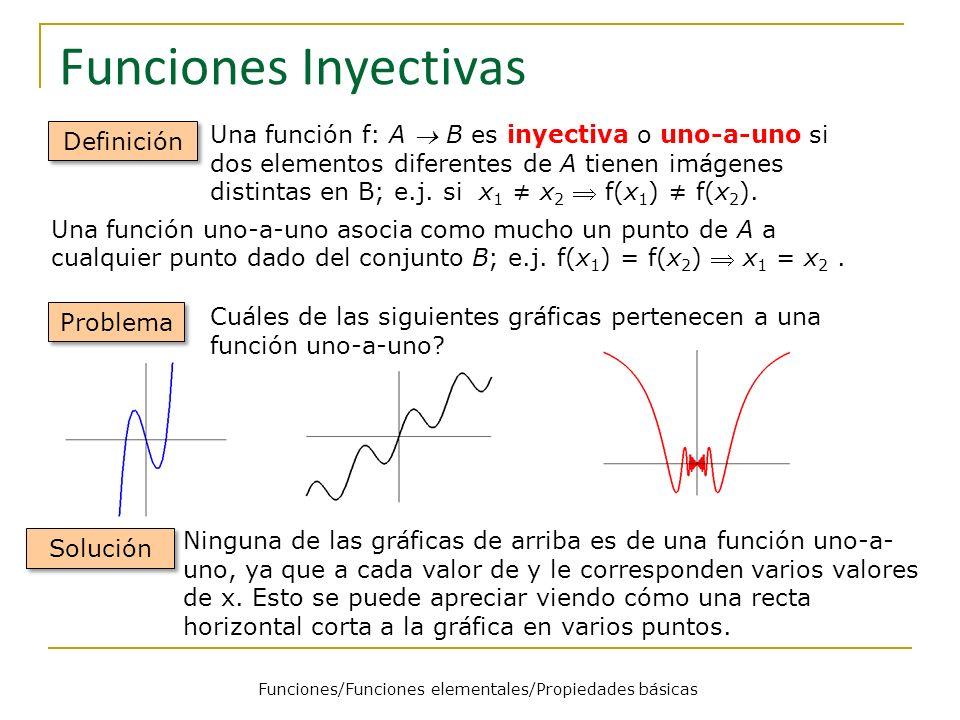 Funciones Inyectivas Definición Una función uno-a-uno asocia como mucho un punto de A a cualquier punto dado del conjunto B; e.j. f(x 1 ) = f(x 2 ) x