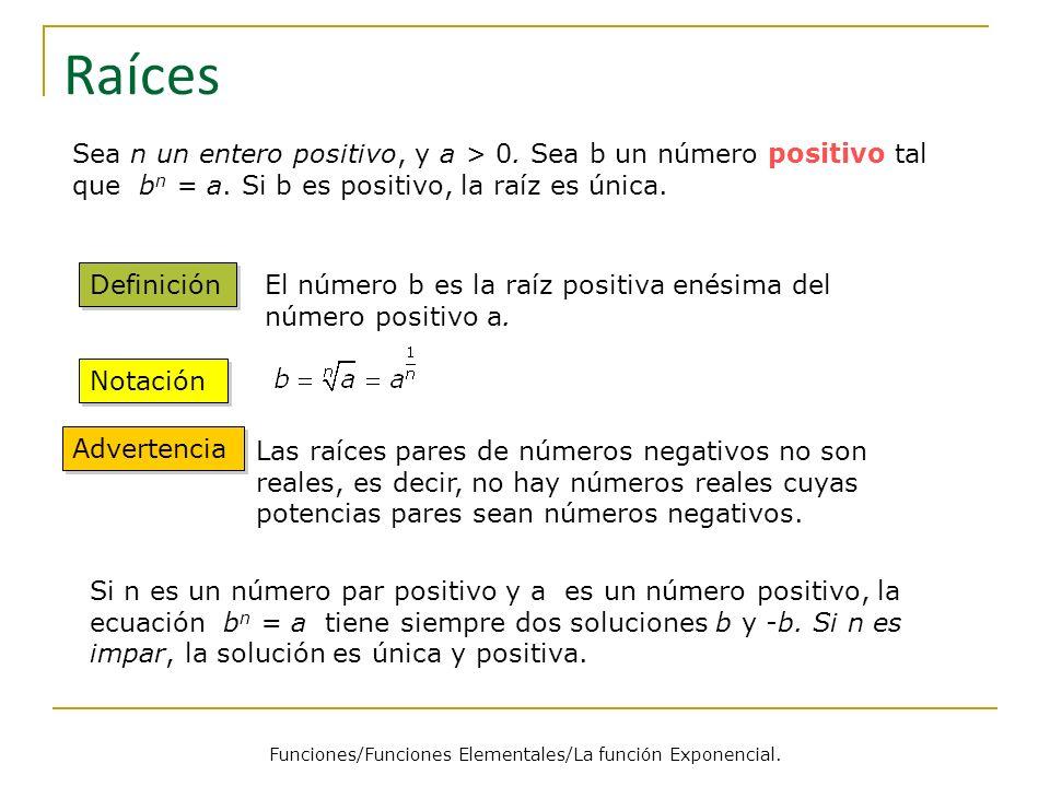Raíces Sea n un entero positivo, y a > 0.Sea b un número positivo tal que b n = a.