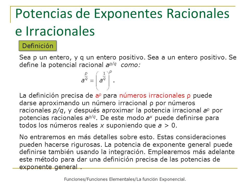 Potencias de Exponentes Racionales e Irracionales Sea p un entero, y q un entero positivo.
