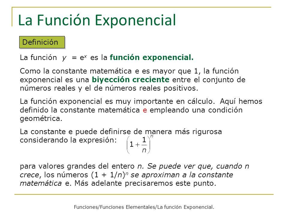 La Función Exponencial Definición La función y = e x es la función exponencial.
