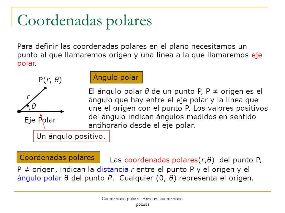 Coordenadas polares Para definir las coordenadas polares en el plano necesitamos un punto al que llamaremos origen y una línea a la que llamaremos eje