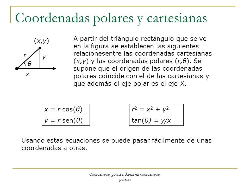 Coordenadas polares. Áreas en coordenadas polares Coordenadas polares y cartesianas θ r (x,y)(x,y) y x A partir del triángulo rectángulo que se ve en