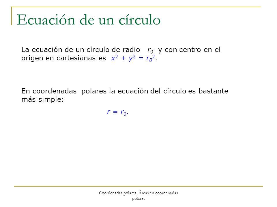 Coordenadas polares. Áreas en coordenadas polares Ecuación de un círculo La ecuación de un círculo de radio r 0 y con centro en el origen en cartesian