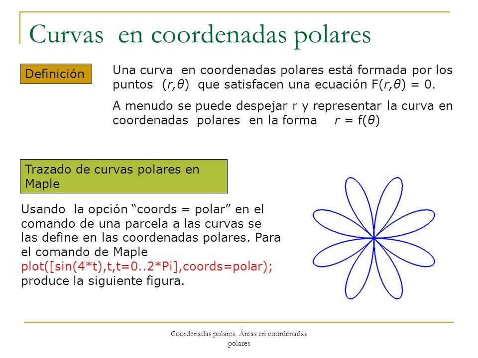 Coordenadas polares. Áreas en coordenadas polares Curvas en coordenadas polares Definición Una curva en coordenadas polares está formada por los punto