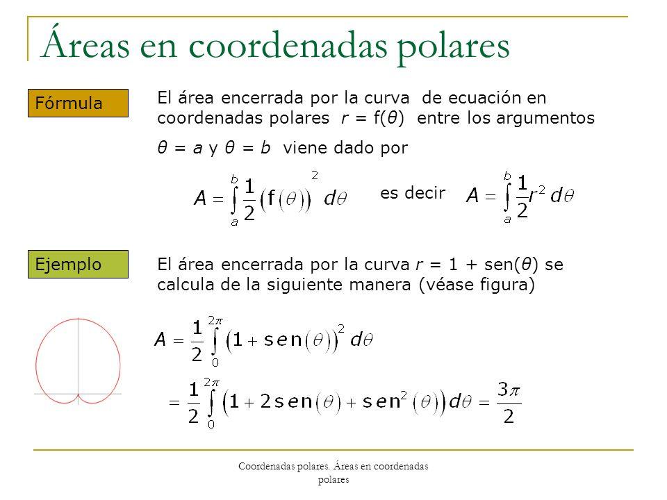 Coordenadas polares. Áreas en coordenadas polares Áreas en coordenadas polares Fórmula El área encerrada por la curva de ecuación en coordenadas polar