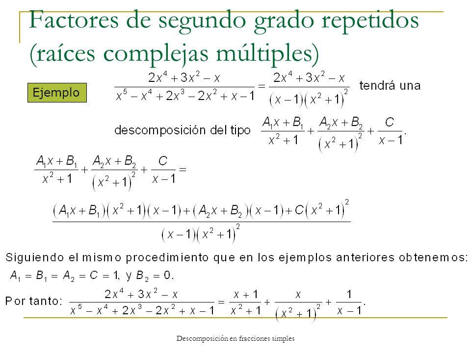 Descomposición en fracciones simples Ejemplo Factores de segundo grado repetidos (raíces complejas múltiples)