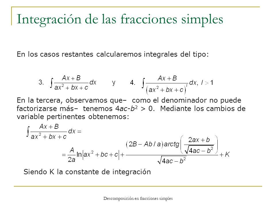 Descomposición en fracciones simples Integración de las fracciones simples En los casos restantes calcularemos integrales del tipo: En la tercera, obs
