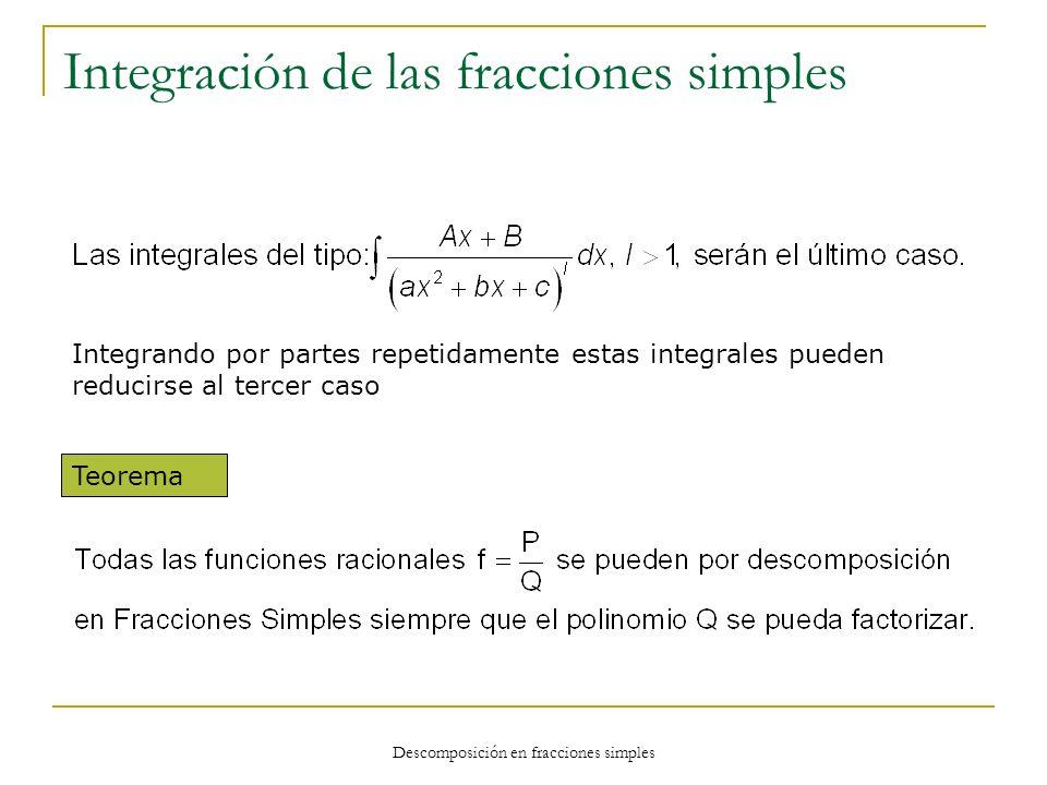 Descomposición en fracciones simples Integración de las fracciones simples Integrando por partes repetidamente estas integrales pueden reducirse al te