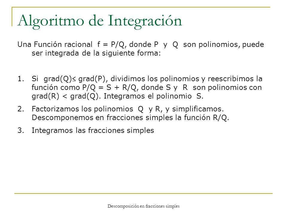 Descomposición en fracciones simples Algoritmo de Integración Una Función racional f = P/Q, donde P y Q son polinomios, puede ser integrada de la sigu