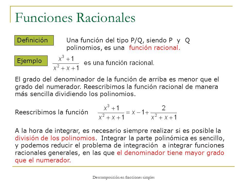 Funciones Racionales Una función del tipo P/Q, siendo P y Q polinomios, es una función racional. Definición Ejemplo El grado del denominador de la fun