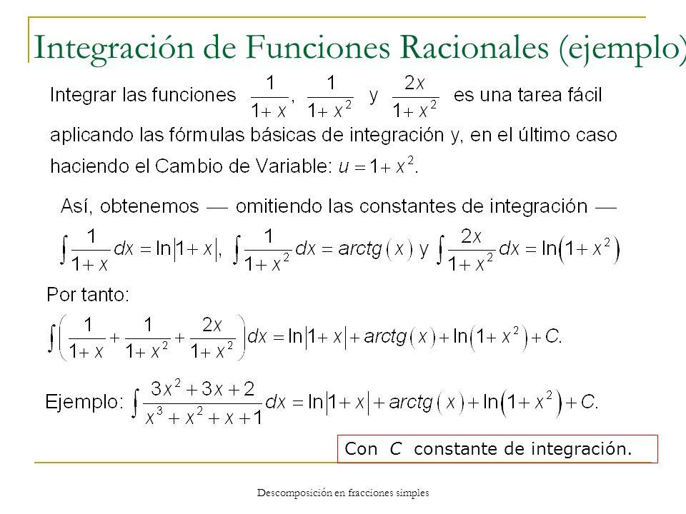 Descomposición en fracciones simples Integración de Funciones Racionales (ejemplo) Con C constante de integración.