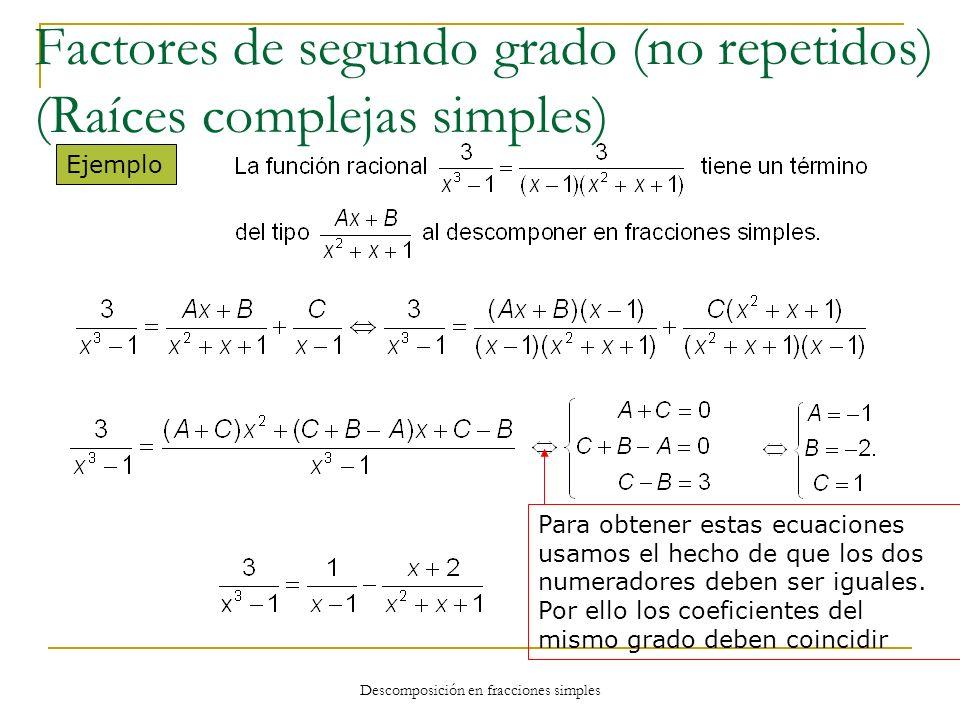 Descomposición en fracciones simples Ejemplo Para obtener estas ecuaciones usamos el hecho de que los dos numeradores deben ser iguales. Por ello los
