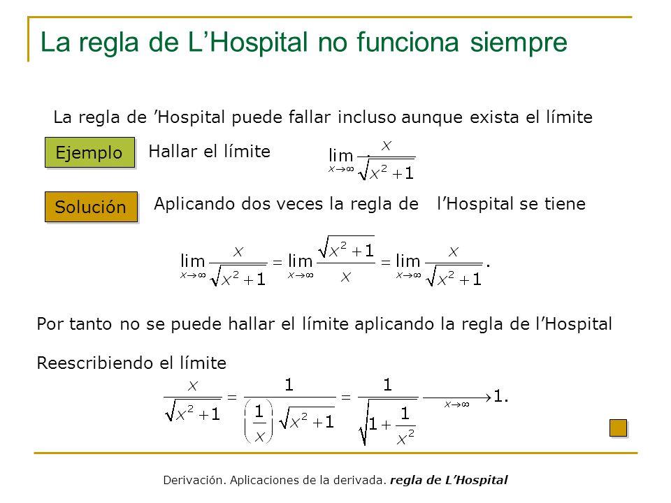 La regla de LHospital no funciona siempre Solución Ejemplo Hallar el límite. Aplicando dos veces la regla de lHospital se tiene Por tanto no se puede