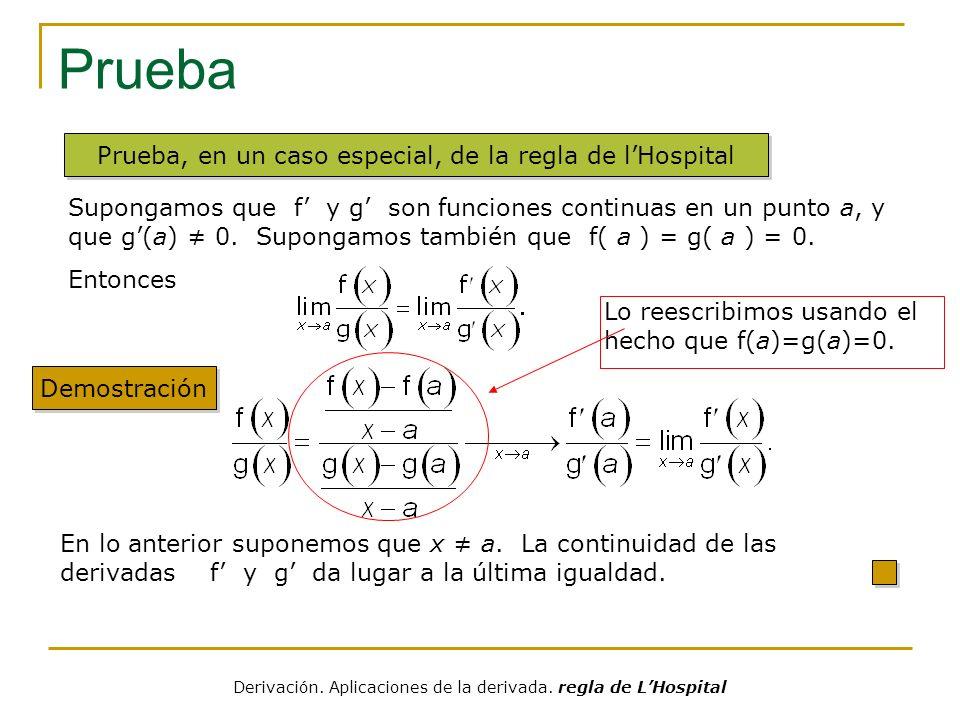 Ejemplos Solución Ejemplo Determine Hemos escrito antes que Entonces podemos concluir, sin más cálculos, que También se puede hallar el límite usando la regla de lHospital: Derivación.