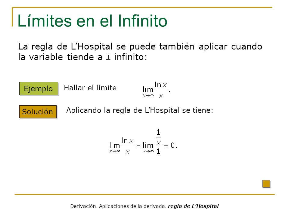 Límites en el Infinito Solución Ejemplo Hallar el límite Aplicando la regla de LHospital se tiene: La regla de LHospital se puede también aplicar cuan