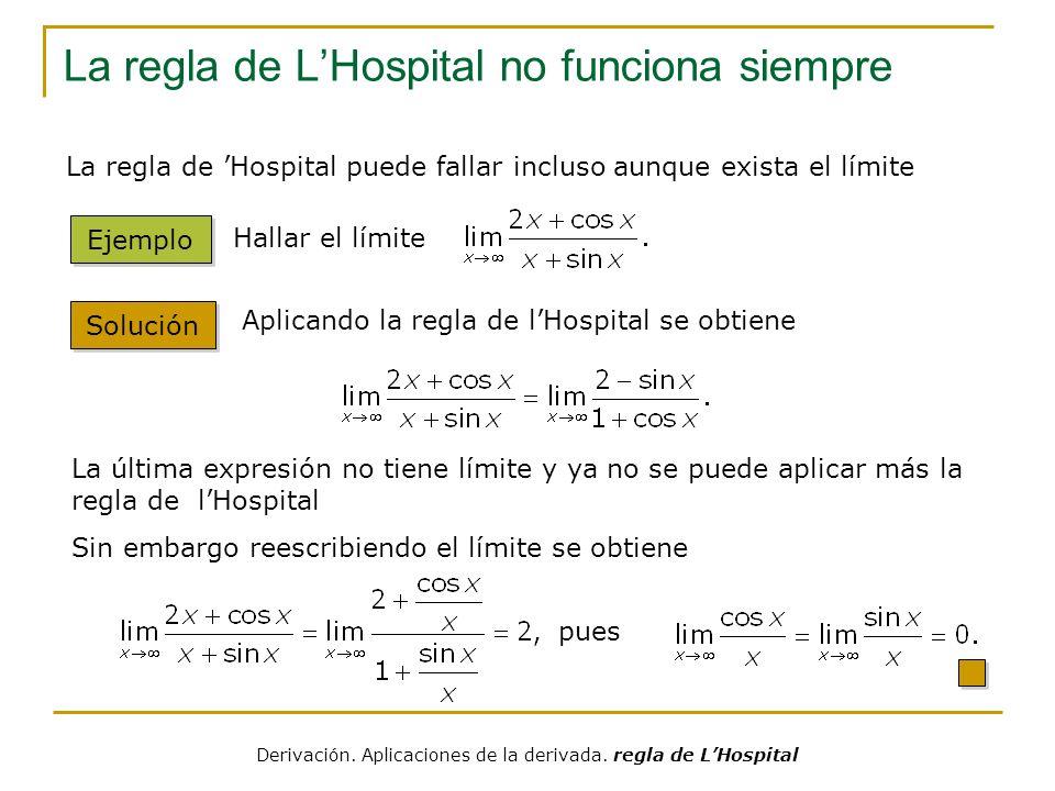 La regla de LHospital no funciona siempre Solución Ejemplo Hallar el límite.