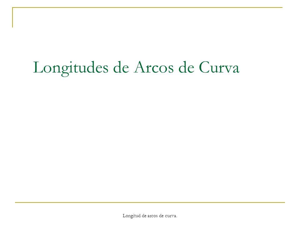 Aproximación de Longitudes de Arco Determinar la longitud de arco de la gráfica de la función f entre las abscisas x = a y x = b.